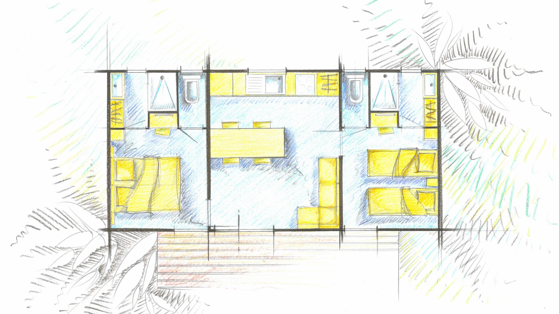Plan du mobile home 2 chambres 2 salles de bain