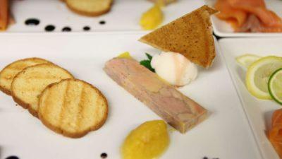 Plat restaurant, foie gras, saumon fumé